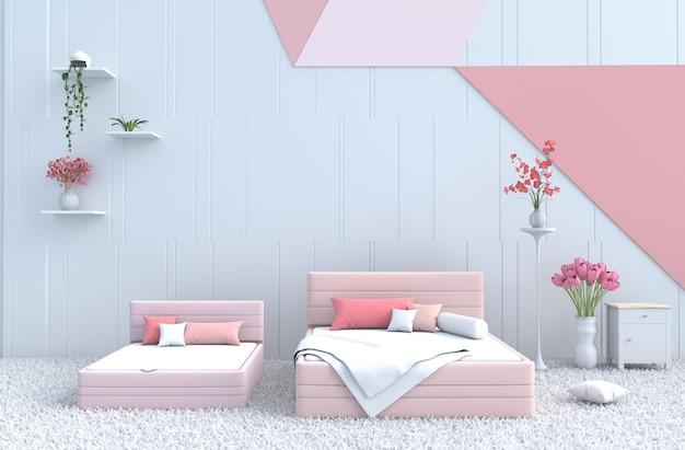 Quarto de cama pastel para família calorosa de amor. renderização 3d.