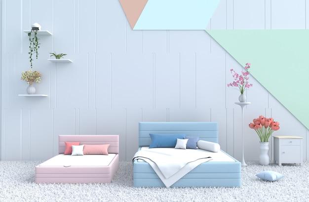 Quarto de cama pastel para uma família acolhedora. renderização 3d.