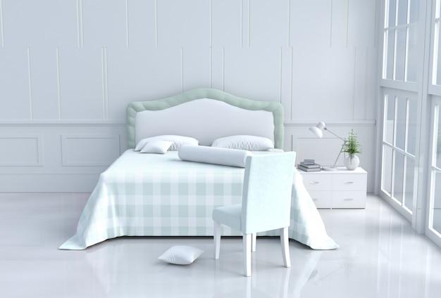 Quarto de cama verde decorado em dia feliz