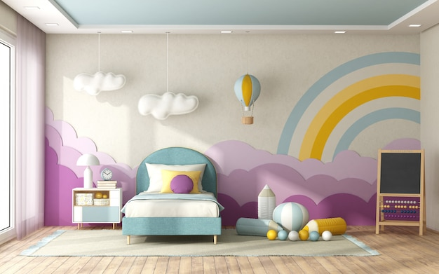 Quarto de criança com decoração na parede do fundo
