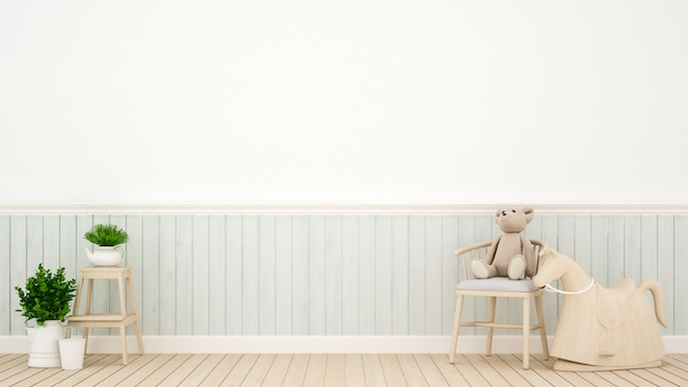 Quarto de criança em casa ou berçário, renderização em 3d interior