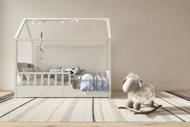 Quarto de criança interior estilo escandinavo ilustração renderização 3d quarto