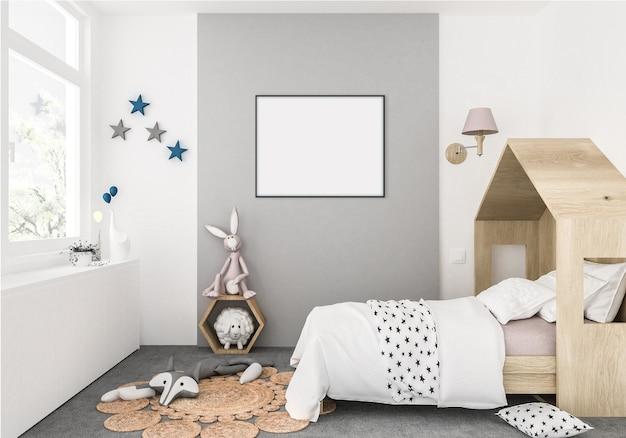 Quarto de crianças com moldura horizontal vazia, fundo de obras de arte, interior