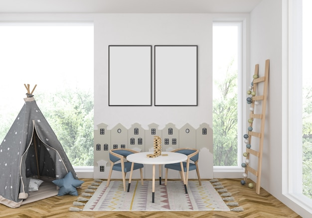 Quarto de crianças com quadros duplos vazios