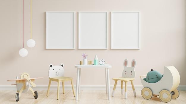 Quarto de crianças interior, maquete de quadro de parede.