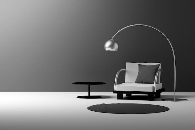 Quarto de estilo escandinavo com composição de móveis e parede em branco