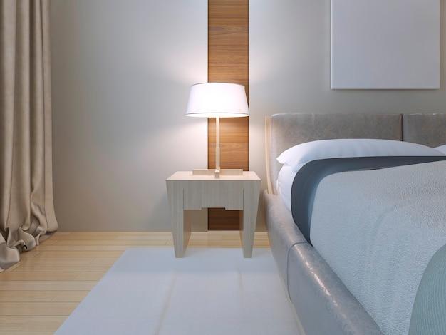 Quarto de estilo minimalista com cama de casal de lether