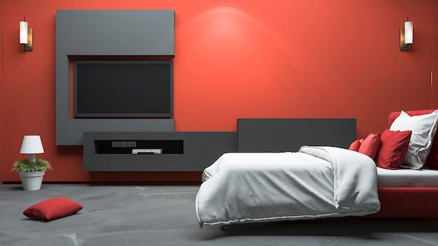Quarto de estilo moderno vermelho de renderização 3d com construído em design