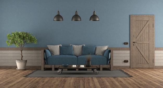 Quarto de estilo retro com porta da frente, sofá de madeira com almofadas azuis e cinza - renderização em 3d