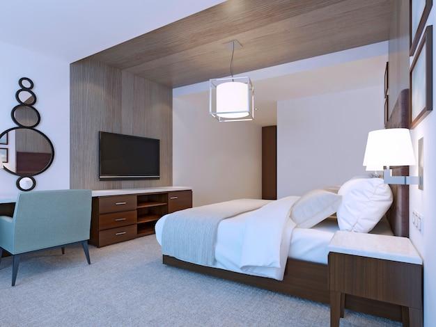 Quarto de hotel com design minimalista.