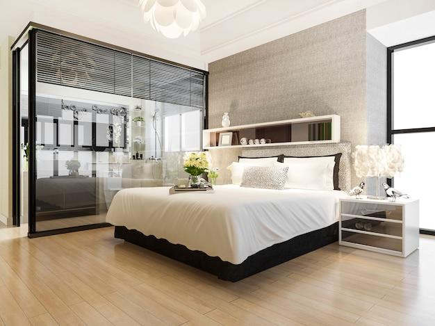 Quarto de hotel suíte de luxo perto de banheiro de vidro