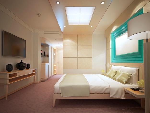 Quarto de luxo em hotel. paredes apaineladas, interior luminoso. renderização 3d