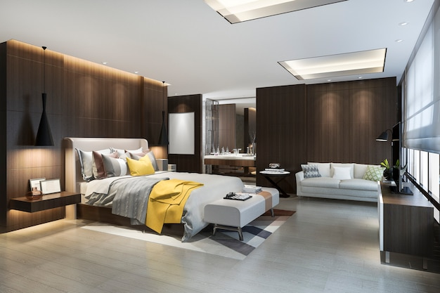 Quarto de luxo marrom loft de renderização 3d com mesa de maquiagem perto da janela