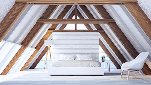 Quarto de praia em uma casa de madeira com estrutura - fácil e relaxe / interior de renderização 3d