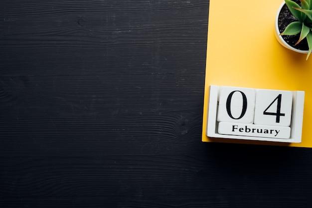 Quarto dia do mês de inverno, calendário de fevereiro, com espaço de cópia.