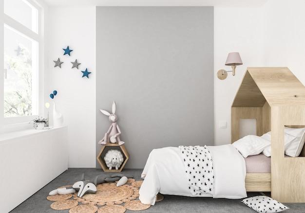 Quarto dos miúdos com parede em branco, fundo de obras de arte, interior