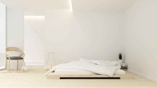 Quarto e área de estar no hotel ou apartamento - design de interiores - renderização 3d