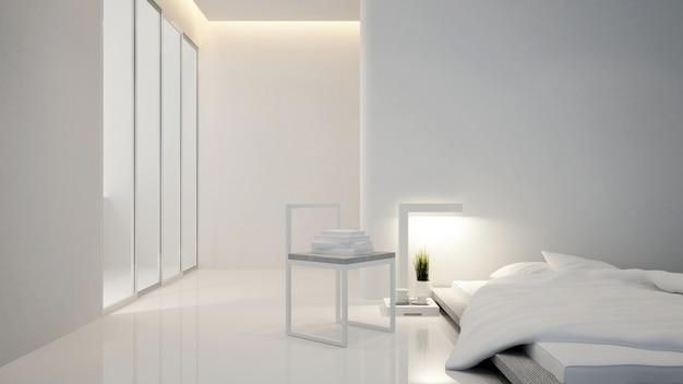 Quarto e área de estar no hotel ou casa - design de interiores - 3d