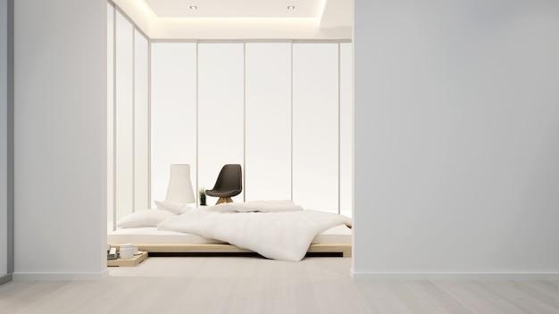 Quarto e área de estar no hotel ou em casa - design de interiores - 3d