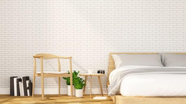 Quarto e área de relaxamento em apartamento ou hotel - design de interiores - renderização 3d