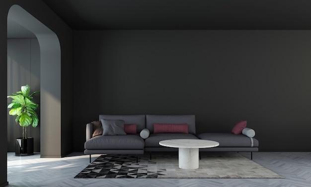Quarto e sala de estar com design de interiores modernos e parede preta