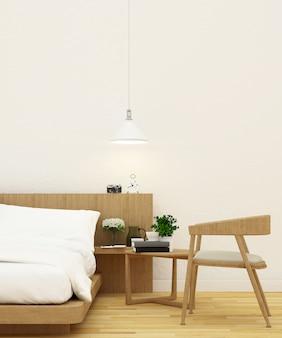 Quarto e sala de estar em design de madeira - renderização 3d