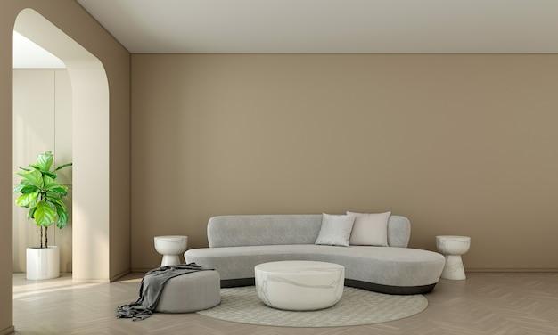 Quarto e sala de estar modernos com design de interiores e parede amarela