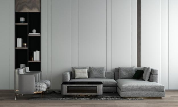 Quarto e sala de estar modernos com design de interiores e parede branca aconchegante