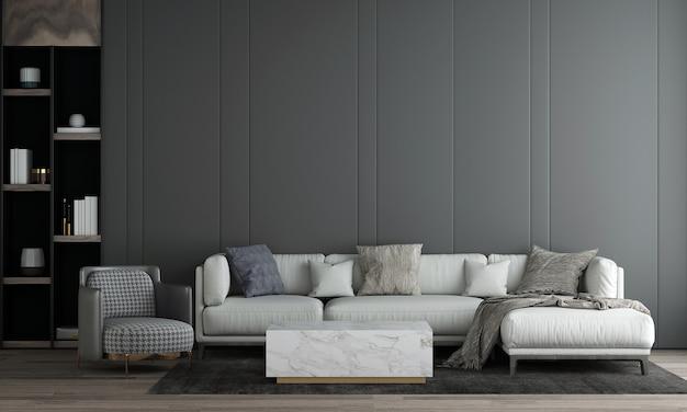 Quarto e sala de estar modernos com design de interiores e parede cinza