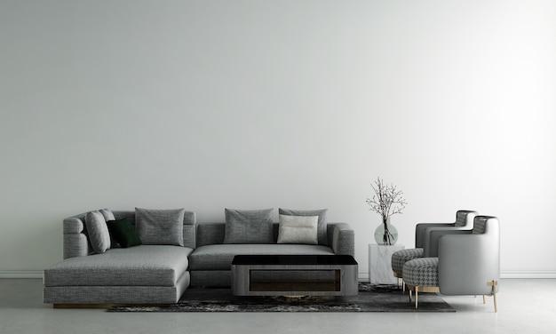 Quarto e sala de estar modernos com design de interiores e parede de concreto branco Foto Premium