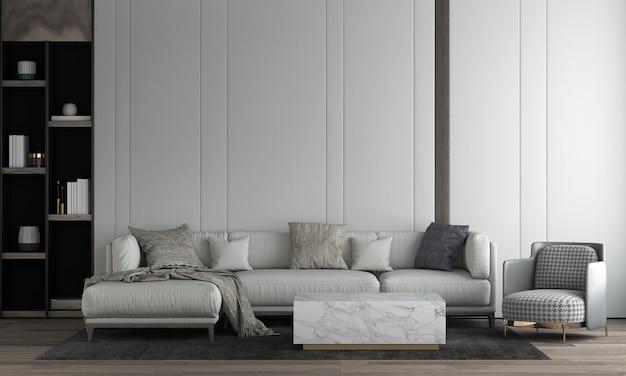 Quarto e sala de estar modernos com design de interiores e parede vazia
