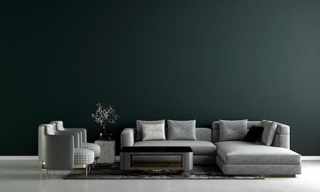 Quarto e sala de estar modernos com design de interiores e parede verde