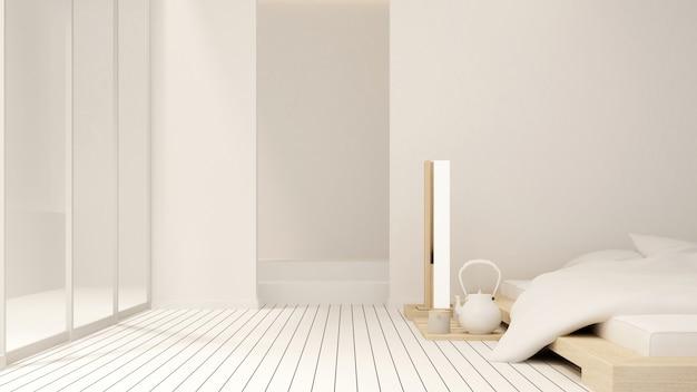 Quarto e varanda no apartamento ou no hotel - design de interiores - renderização 3d