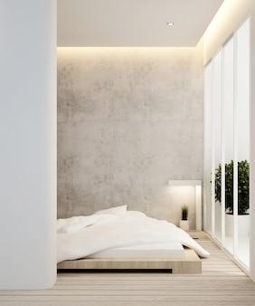 Quarto e varanda no hotel ou apartamento - design de interiores - renderização em 3d