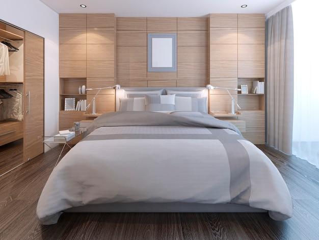 Quarto elegante com decoração de parede com cama exuberante e painéis decorativos de madeira
