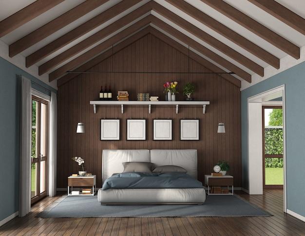 Quarto elegante com parede de madeira atrás de uma cama de casal moderna e mesa de cabeceira - renderização em 3d