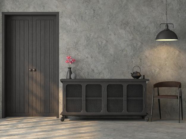Quarto em estilo loft industrial renderizado em 3d com gabinete de metal e cadeiras com luz solar no quarto