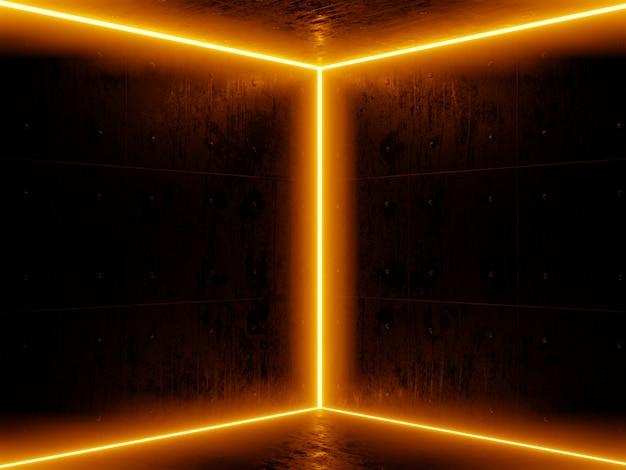 Quarto escuro e laranja neon na parede. a laranja coloriu luzes no grunge vazio do quarto escuro concreto. renderização em 3d.