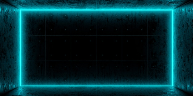 Quarto escuro e néon azul na parede. o azul coloriu luzes no grunge vazio do quarto escuro concreto. renderização em 3d.