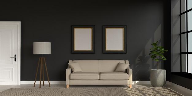 Quarto escuro em estilo loft com móveis e duas molduras vazias