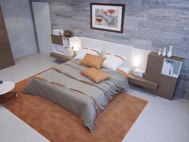 Quarto espaçoso nas cores cinza e laranja com papel de parede de alvenaria e móveis cinza