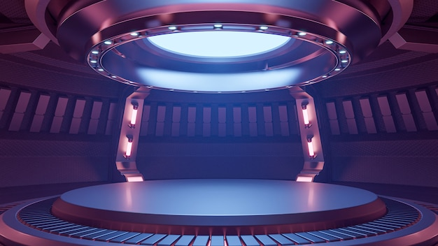 Quarto estúdio vazio claro vermelho azul interior futurista, renderização em 3d