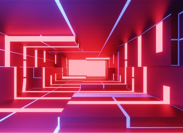 Quarto futurista abstrato com néon vermelho e azul