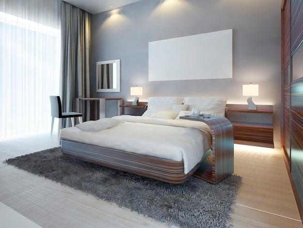 Quarto grande e luxuoso nas cores branco, marrom e cinza de estilo contemporâneo. uma cama grande com mesa lateral e penteadeira com espelho e cadeira. 3d render.