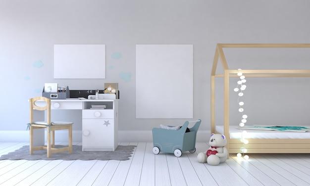 Quarto infantil, casinha de brincar, móveis infantis com brinquedo e maquete de duas molduras