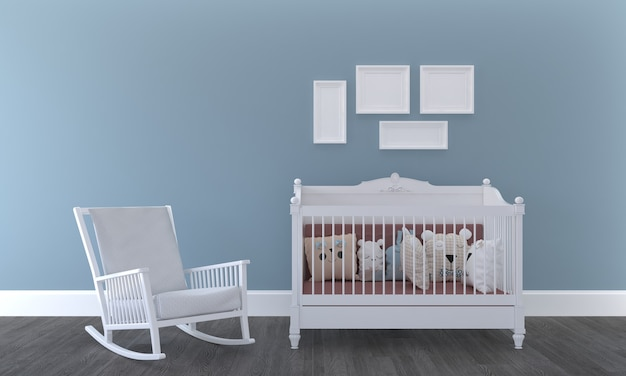 Quarto infantil, casinha de brincar, móveis infantis com brinquedo e maquete de quatro quadros