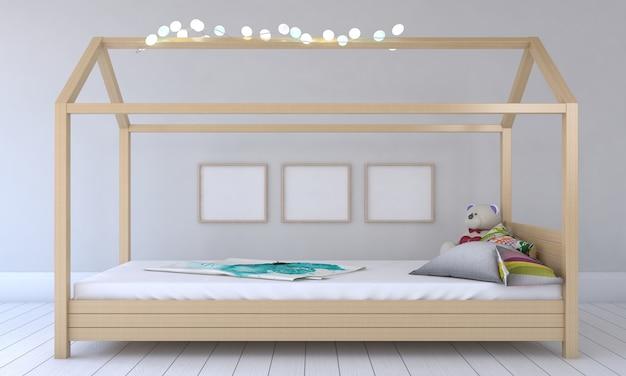 Quarto infantil, casinha de brincar, móveis infantis com brinquedo e maquete de três quadros