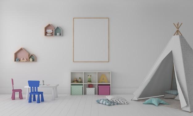 Quarto infantil, casinha, móveis infantis com brinquedo e maquete