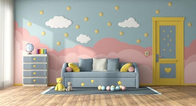 Quarto infantil colorido com sofá-cama, porta fechada e cômoda - renderização em 3d