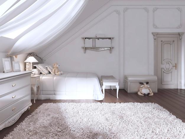 Quarto infantil em estilo clássico com cama e cômoda. renderização 3d
